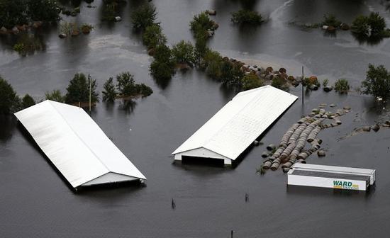 洪水淹没了靠近东海岸线的整个内陆地区(图源:美联社)