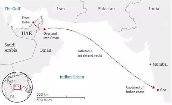 拉莉法的逃跑路线图:经陆路越境进入阿曼,随后乘坐充气艇和水上摩托车出海,在与若贝尔汇合后乘游艇驶向印度果阿,距海岸30英里处遭到拦截。图据《卫报》