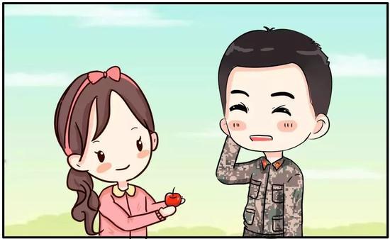 记者手绘幼姑娘送苹果漫画图