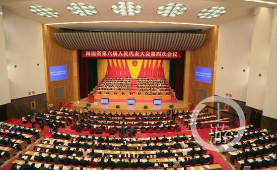 ▲1月24日,海南省第六届人民代表大会第四次会议开幕。图片来源/海南人大网