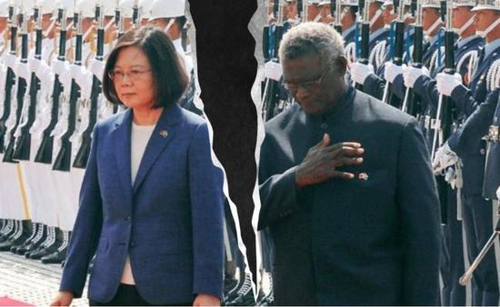 """(图:蔡英文与所罗门群岛总理索加瓦雷""""友尽""""。)"""