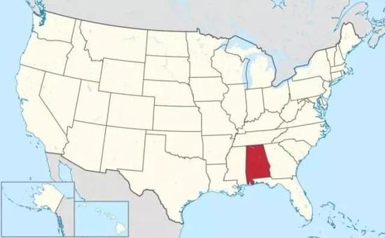 阿拉巴马州在美国的位置