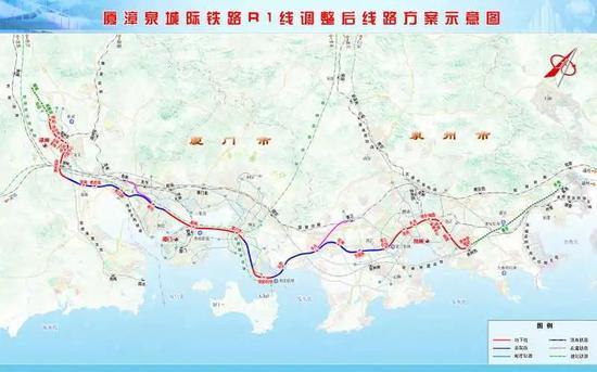 厦漳泉都市区R1调整后线路方案示意图(最终方案以批复的为准)