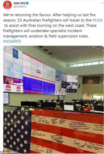 澳消防员协助美国加州灭山火