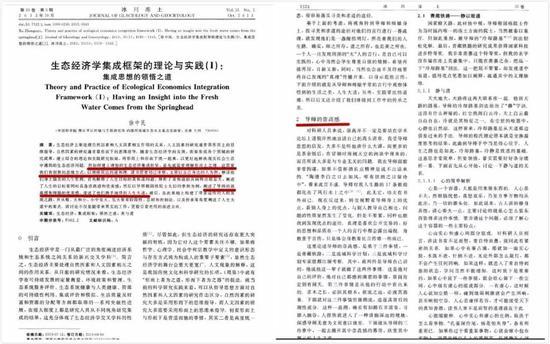 ▲徐中民论文《生态经济学集成框架的理论与实践》截图,图片来自新京报网。