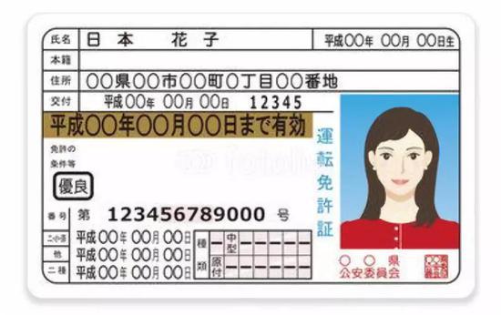 (图为当前日本驾驶证模板,采用年号纪年,年号改变将带来明显影响)