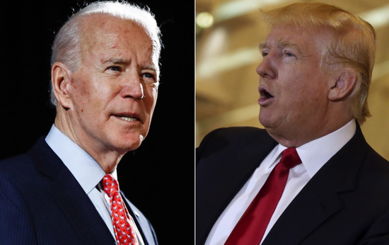 左为2020年美国民主党候选人拜登,右为共和党候选人特朗普