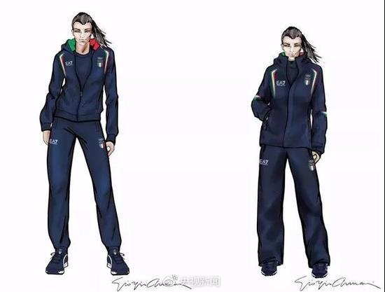 意大利代表团的服装继续由某著名品牌设计,走的依旧是高端路线。