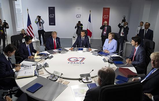 当地时间2019年8月26日,法国比亚里茨,七国集团(G7)峰会最后一天,G7领导人和欧盟理事会主席图斯克召开工作会议。IC photo