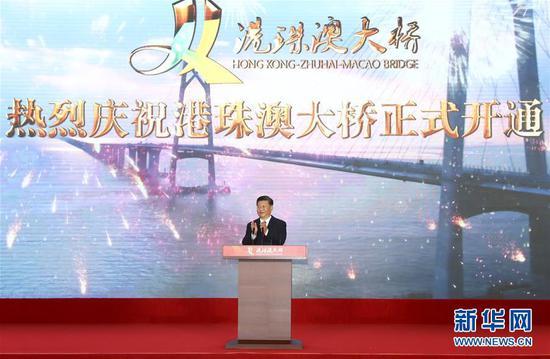 10月23日上午,港珠澳大桥开通仪式在广东珠海举行。中共中央总书记、国家主席、中央军委主席习近平出席仪式并宣布大桥正式开通。新华社记者 谢环驰 摄