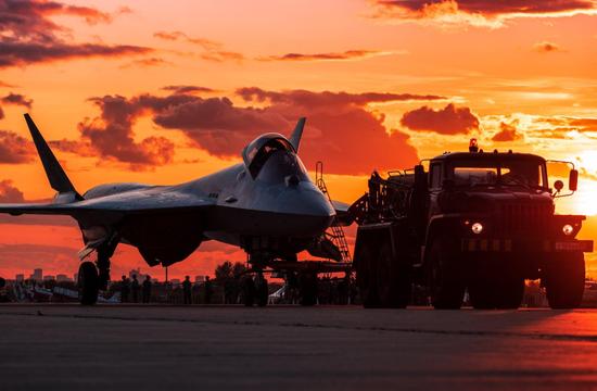 莫斯科航展上hg0088官网苏-57美图 图源:外交媒体