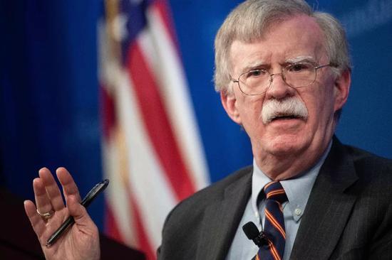 ▲12月13日,博尔顿就美国新的非洲战略发外演讲。(视觉中国)