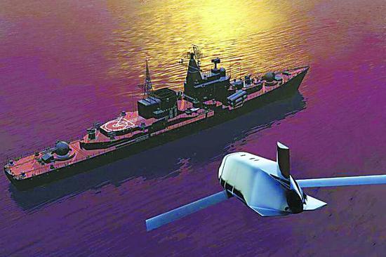 美国发布LRASM导弹抨击俄驱逐舰的想象图