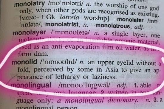 《麦考瑞词典》关于单眼皮的定义