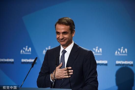 希腊反对党大选中获胜 现任总理将移交工作