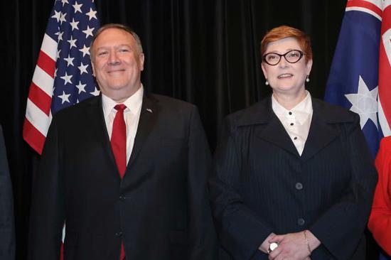 蓬佩奥与澳大利亚社交部长佩恩 图自IC Photo