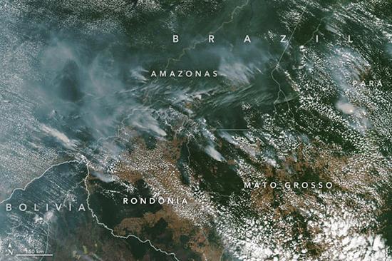 NASA卫星图像可以看到大火产生的烟雾图自NASA