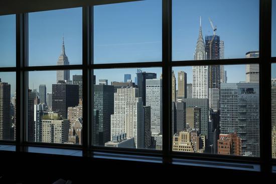 纽约曼哈顿的建筑群。新华社记者李木子 摄