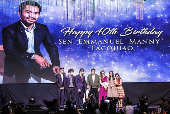 菲律宾拳王过40岁生日,总统杜特尔特到场祝贺。(图片来源:法国媒体)