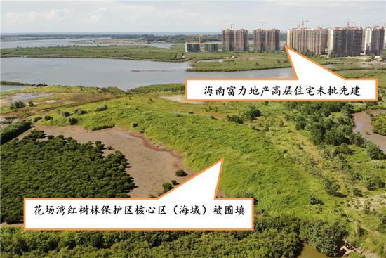 海南富力公司围填海侵占保护区核心区。图片来源:生态环境部