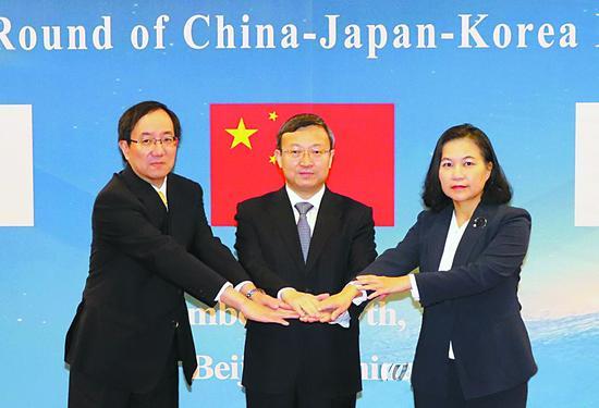 中日韩自贸区第十四轮议和7日在北京举走。