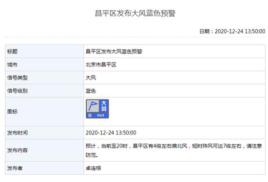 北京多区发布大风蓝色预警