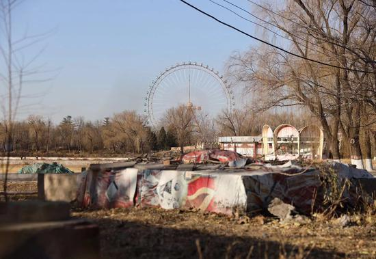 12月17日,原北京游笑园,摩天轮还挺直在公园中心,湖面已经穷乏,长满杂草。新京报记者 王贵彬 摄