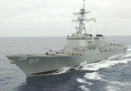 """美国驱逐舰""""普雷贝尔""""号(DDG-88),不过他表示,后经过台湾海峡 图源:社交媒体"""