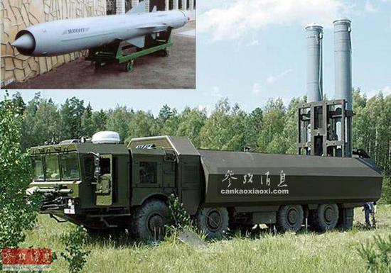 """俄军""""棱堡""""岸舰导弹编制发射车及""""缟玛瑙""""超音速逆舰导弹。"""