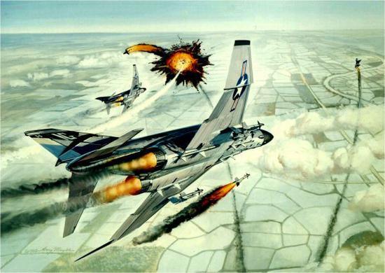 艺术家绘制的越战时期,美军F-4战机击落越共米格-21油画。(图片来源于网络)