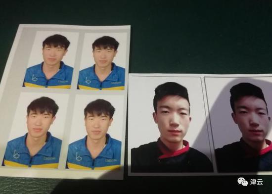 失联的双胞胎的证件照,蓝色衣服的是祁幼雯,黑色衣服的是祁幼云