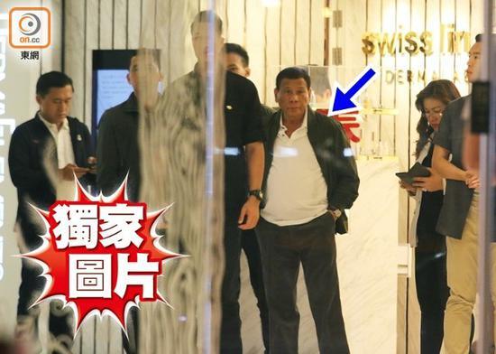 """香港""""东网""""公布的杜特尔特现身铜锣湾世贸中心""""独家图片""""。"""