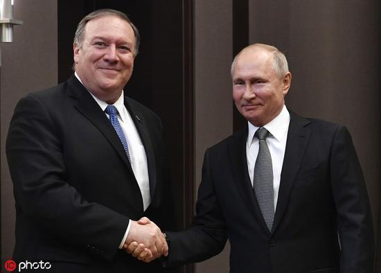 5月14日,俄罗斯索契,普京与蓬佩奥会面 图自IC photo