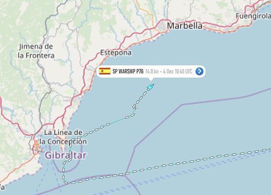 西班牙巡逻舰航走路线 图自 每日邮报