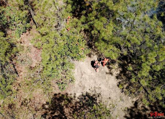 冕宁县森林大火扑火现场,航拍消防队员扑火画面