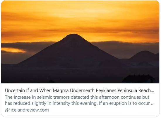 雷克雅内斯半岛下方的岩浆是否到达表面和何时到达表面都是未知数。/Iceland Review报道截图