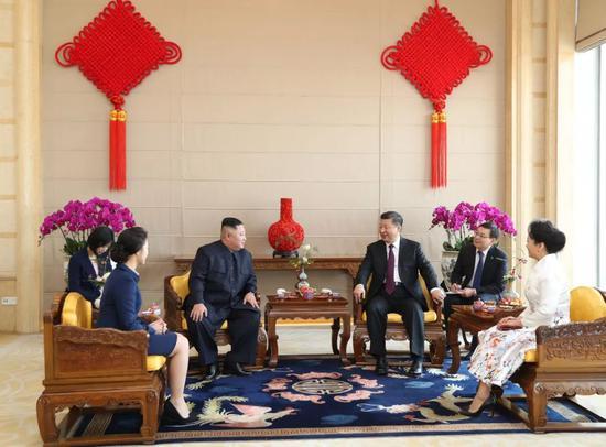 2019年1月9日,习近平在北京饭店会见金正恩。新华社记者 黄敬文 摄