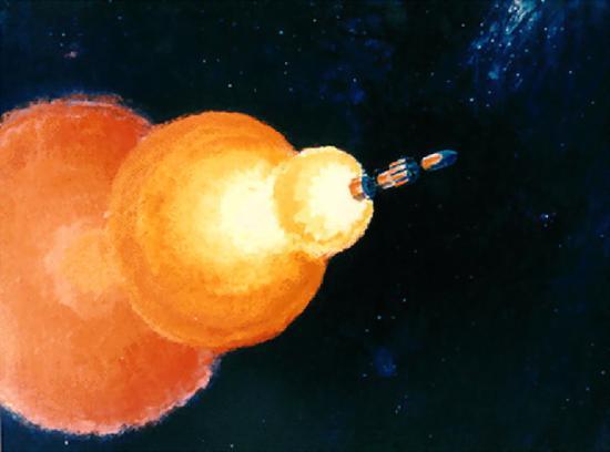 核火箭在外太空提高暗示图。