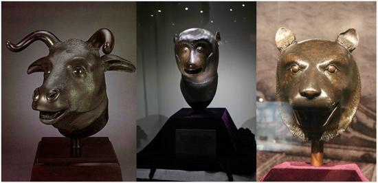 (圆明园12生肖兽首铜像中的牛首、猴首、虎首。)