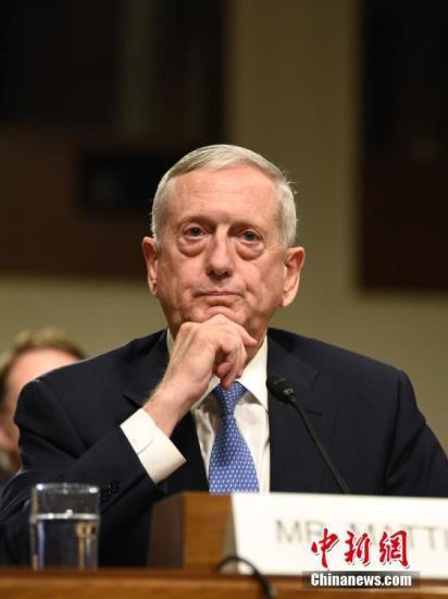 原料图:美国国防部长马蒂斯。中新社记者 张蔚然 摄