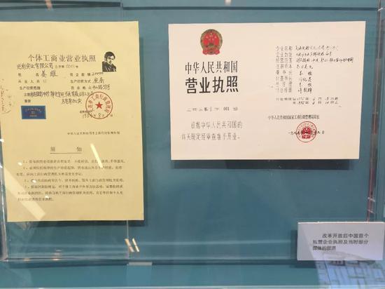 变革开放后中国首个私营企业执照