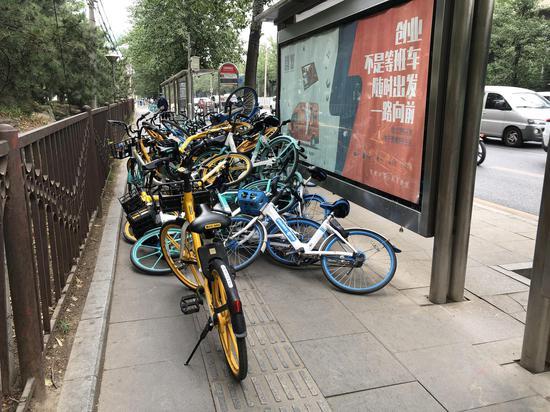 记者在朝阳区京密路丽都饭店公交车站发现,近50辆共享单车被杂乱地叠放在一起,将人行道与盲道完全堵死。摄影 新京报记者 罗晓静摄