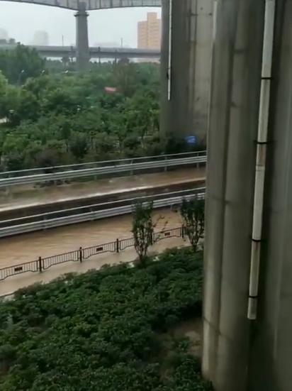 高架下面的水流。威尼斯电子来源:李森提供视频截图