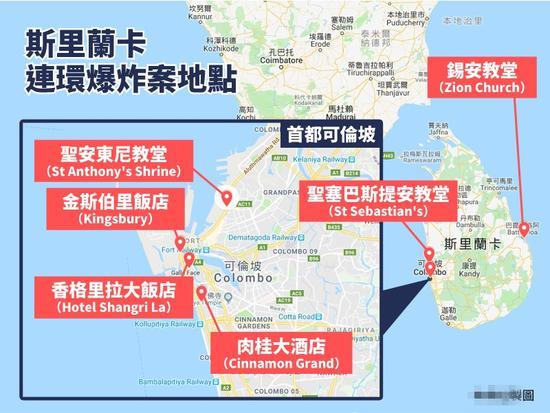"""斯里兰卡21日发生连环爆炸,其中有6起爆炸案几乎同步。(""""中央社""""制图)"""