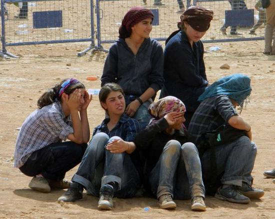 图为逃亡到土耳其的叙利亚难民
