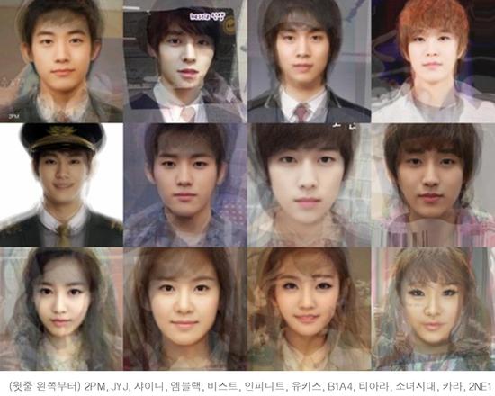 韩国知名偶像团体平均相貌合成照