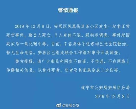 四川遂宁发生疑似一氧化碳中毒事件 2死7人送医
