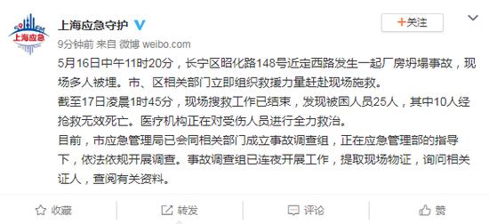 上海厂房坍塌事故致25人被困 10人因此罹难死亡