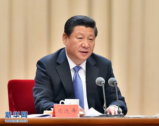 圖為:2014年10月8日,中共中央總書記、國家主席、中央軍委主席習近平在黨的群眾路線教育實踐活動總結大會上發表重要講話。
