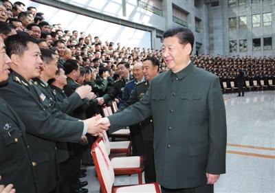 昨日,中共中央總書記、國家主席、中央軍委主席習近平視察國防大學并接見國防大學第六次黨代表大會全體代表和師以上領導干部。
